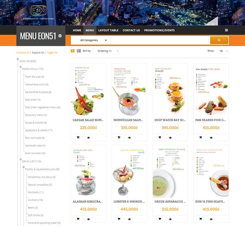 thiet ke website menu mon an